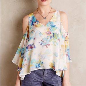 Maeve | Silk Floral Cold Shoulder Blouse